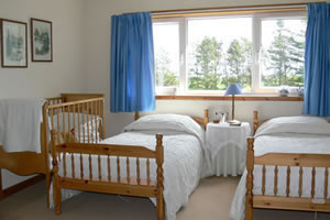 Two Single beds and a double bed in our Family room